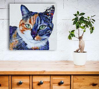 Peinture chat artiste peintre cat