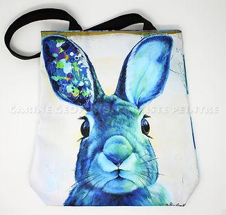 Sac fourre-tout lapin bleu artiste peintre tote bag bunny