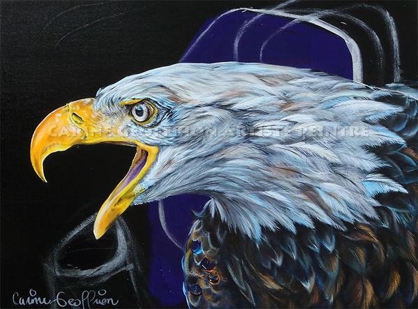 Artiste peintre animalier toile aigle oiseau