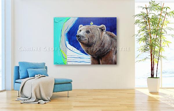 Artiste peintr animalier toile ours