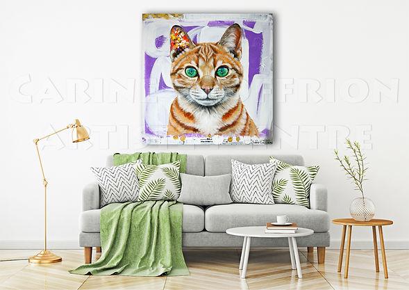 Peinture chat toile artiste peintre québécoise