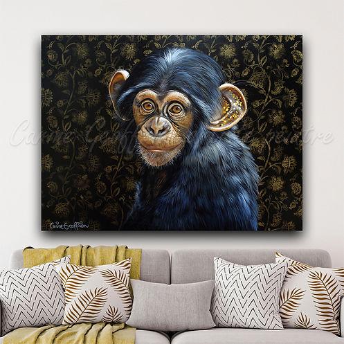 Peinture artiste peintre québécoise singe monkey chimpanzé
