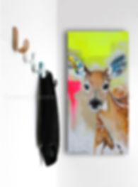 Artiste peintre québécoise toile animaux cerf