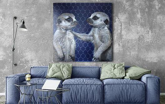Peinture suricates artiste peintre animalier québécoise