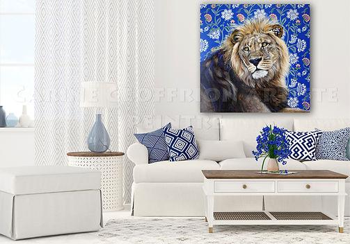 Peinture lion toile artiste peintre animalier