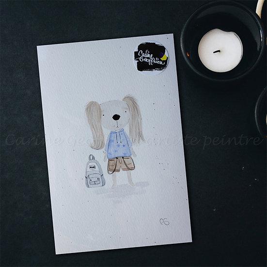Illustration chiot salopette chambre d'enfant mignon