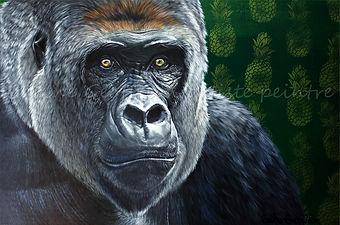 Oeuvre peinture animal gorille gorila artiste peintre animalier québécoise