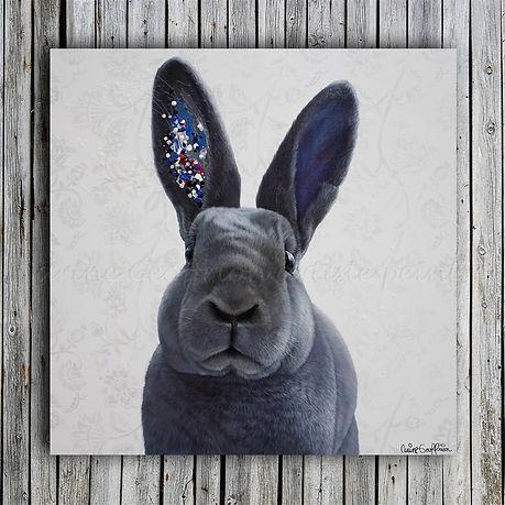 Toile artiste peintre animalier québécoise, lapin bunny rabbit