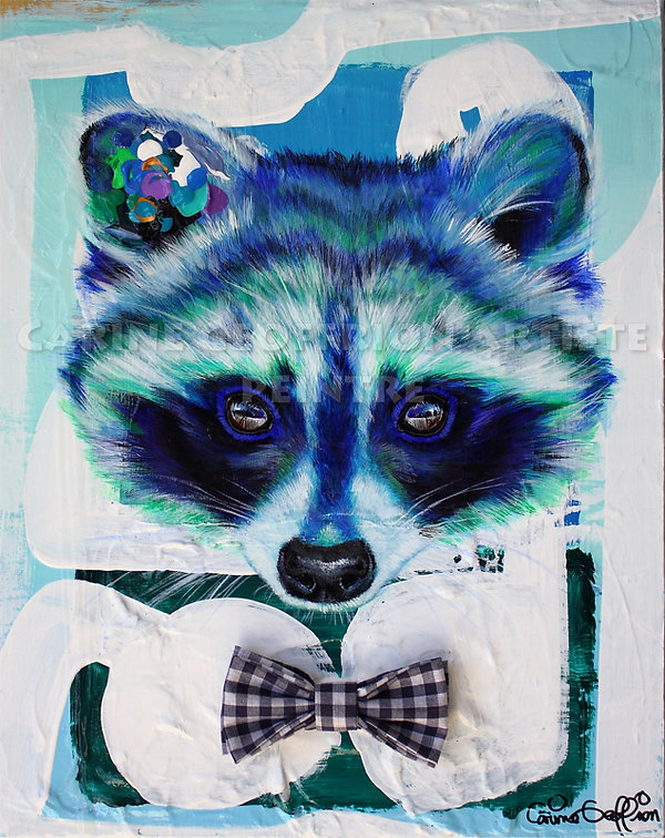 Peinture raton laveur animal artiste peintre