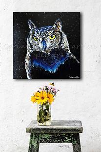 Peinture hibou artiste peintre animalier québcoise