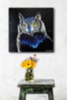 Peinture hibou animalier oiseau