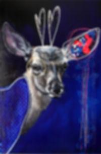 Toile cerf deer artiste peintre québécoise