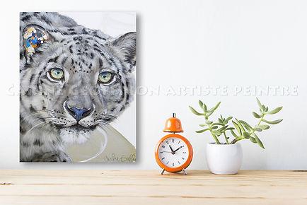 Artiste peintre animalier toile léopard des neiges Félin