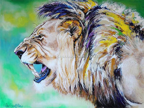 Artiste peintre animalier toile lion