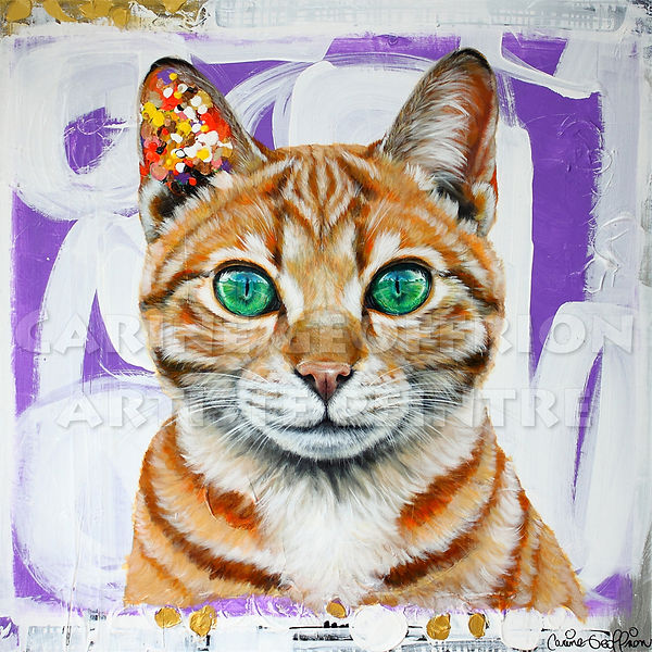 Peinture chat toile artiste peintre