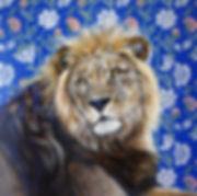 Toile peinture lion artiste peintre québécoise