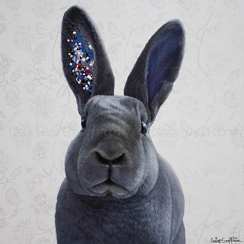 Toile lapin rex gris bunny rabbit artiste peintre animalier