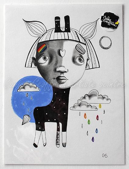 illustration giraffe fille arc-en-ciel