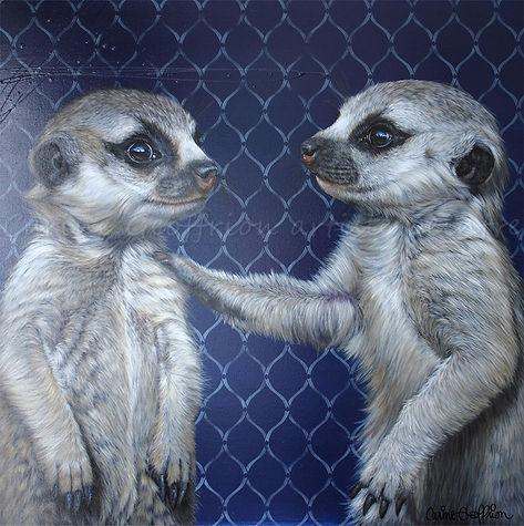 Peinture suricates, artiste peintre animalier québécoise animaux