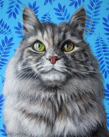 Toile peinture chat, cat peinture animalière artiste peintre québécoise