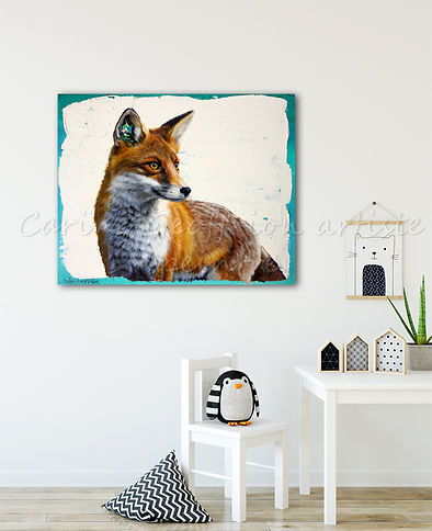 Toile peinture artiste québécoise renard fox