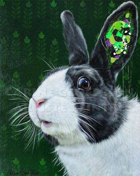 Peinture toile lapin artiste peintre animalier