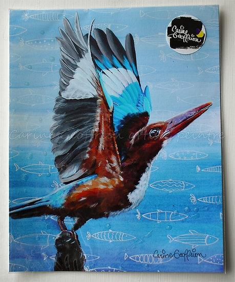 Reproduction oeuvre martin pêcheur artiste peintre animalier