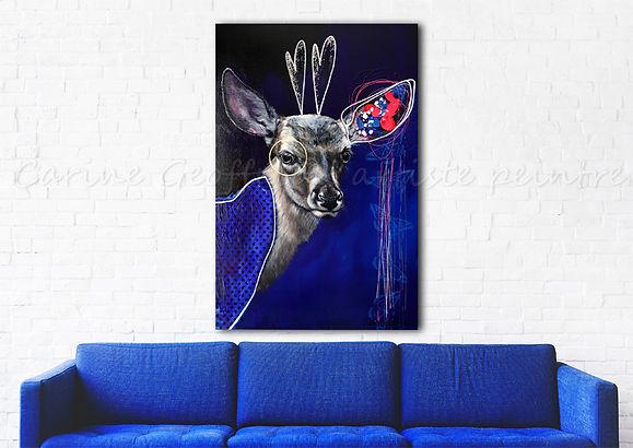 Peinture cerf artiste peintre animalier