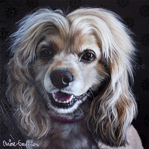 Toile peinture cocker spaniel chien artiste peintre animalier québécoise