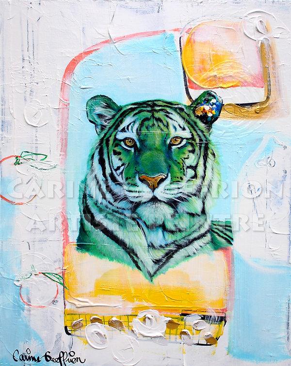 Artiste peintre peinture tigre