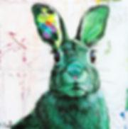 Artiste peintre animalier québécoise toile Clovis lapin lièvre