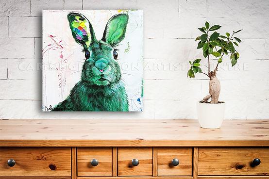 Artiste peintre animalier québécoise toile lapin