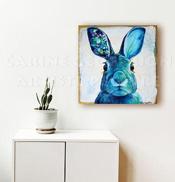 Toile lièvre artiste peintre animalier