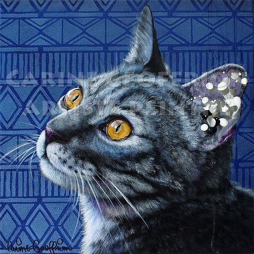 Toile chat peinture artiste peintre