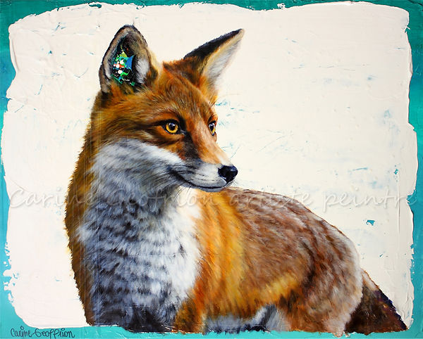 Toile artiste peintre animalier renard fox