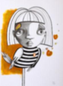 Besoin d'évasion, illustration, artiste peintre québécoise, oiseau, fille, jaune