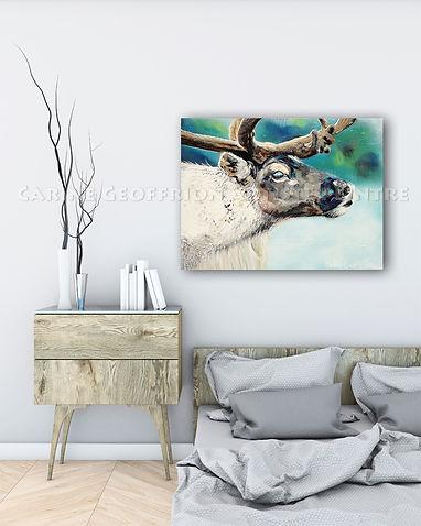 Toile artiste peintre animalier renne caribou