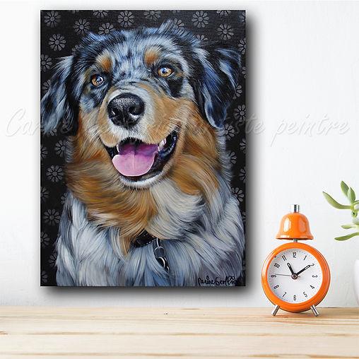 Toile peinture chien berger australien dog artiste peintre québécoise