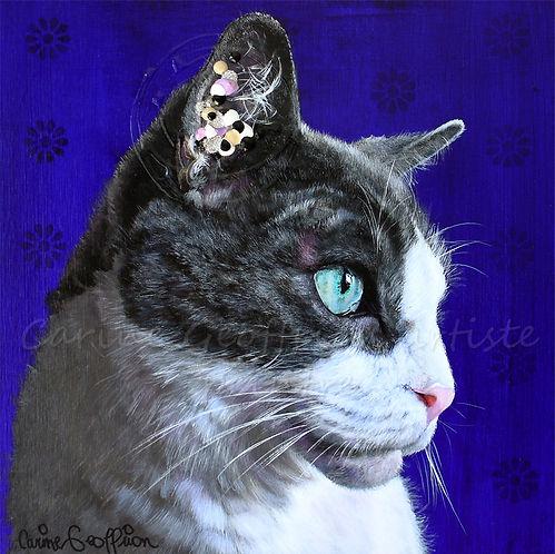 Peinture chat toile artiste peintre cat animalier