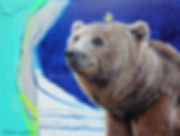 Artiste peintre animalier toile ours et oiseau