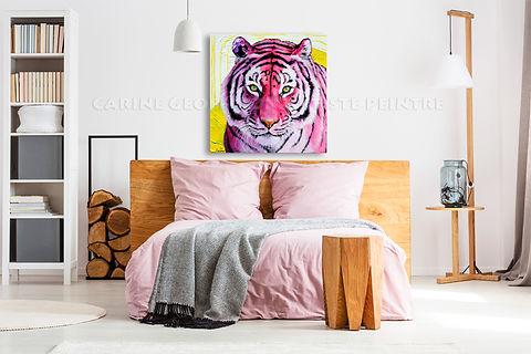 Artiste peintre québécoise toile tigre rose