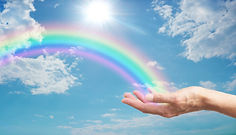 Here's a Rainbow  for You - female hand