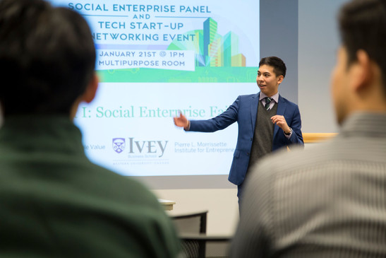 *Eric Huang (CEO and Founder of AAARL) speaking at the Ivey Social Enterprise Panel