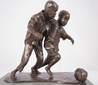 Two Lads One Ball (bronze)
