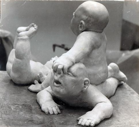 Wrestling Babies (plaster)
