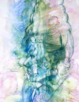 Goddess 1 (acrylic & pencil on card)