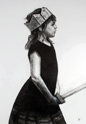 Armed Princess (charcoal on card)