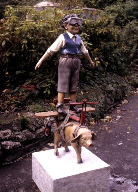 Swine Cycle Kid (fibrglass / mixed media