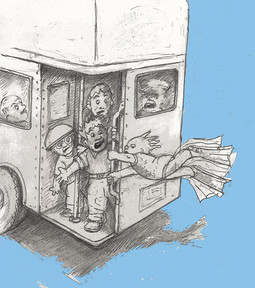Freddy Neptune Catches the Bus (pencil on paper)