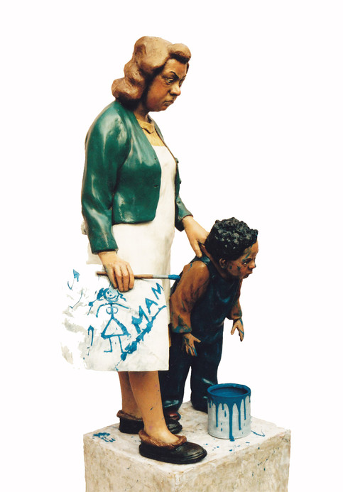 Portrait of the Artist and Mother with a Portrait of the Artist's Mother in Blue (fibreglass  / mixed media)